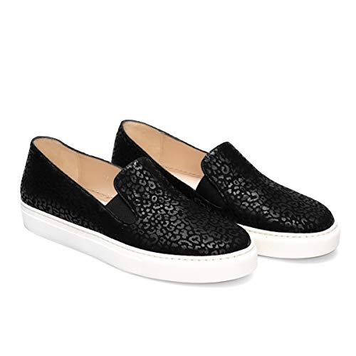 Beatriz - Zapatillas Sneakers Slip On Negras de Vestir para Mujer en Piel - Planos Suela Gruesa - Cierre Elásticos - Moda Tendencia Sport Casual - Animal Print - Jaguar Negro - Negro 38 EU