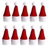 HPEDFTVC 10 Stücke Weihnachten Weihnachtsmann Mini Red Hat Weinflasche Cover Topper Decor