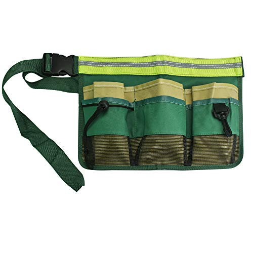 OLRWSLG - Cinturón de herramientas de jardín Oxford con cinturón ajustable, bolsillos para herramientas, múltiples compartimentos, para electricistas, carpinteros, artesanos (verde)