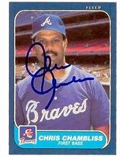 Chris Chambliss autographed baseball card (Atlanta Braves) 1986 Fleer #512 - Autographed Baseball Cards