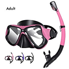 PROFESSIONAL GRADE MATERIAL: The goggles of our snorkel set are made of tempered glass,it is impact-resistent and explosion-proof which helps to make it durable,strong and more safety.Not even the hardest knock from the sharpest or heaviest object ca...
