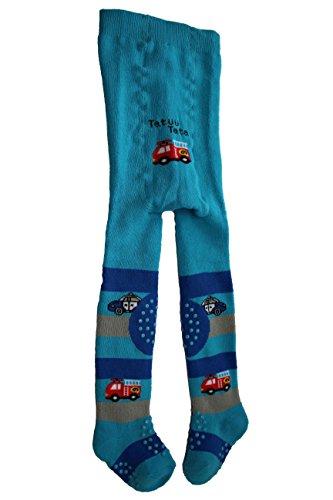 socksPur SOCKS PUR KRABBEL- STRUMPFHOSE VOLLFROTTEE mit ABS an KNIE & SOHLE 1 STÜCK (62-68, 5769: AUTO türkis)