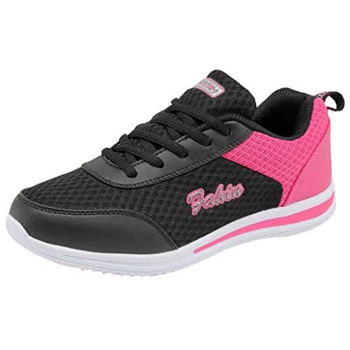 iYmitz Damen Sneaker Mode Casual Outdoorschuhe Frauen Freizeitschuhe Wanderschuhe Wohnungen Schuh Sportschuhe(Schwarz,EU/38)