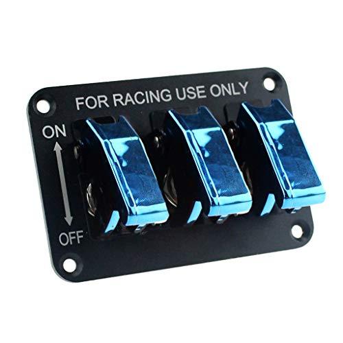 prasku Panel de Interruptor de Botón Basculante de 3 Luces LED de Aluminio para Motor de Coche de Carreras