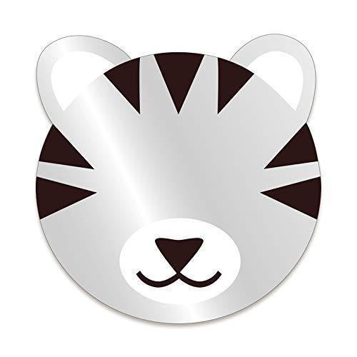 DECOLOOPIO – Espejo infantil de tigre gris – Formato 22 x 22 cm – Espejo de placa acrílica de 3 mm – Decoración, espejo de tigre para decoración de pared, decoración de habitación infantil...