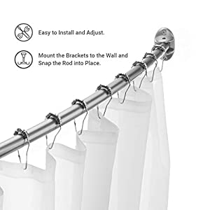 Ex-Cell Curved Shower Curtain Rod, Brushed Nickel