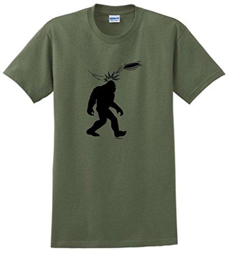 Disc Golf Frisbee Sasquatch T-Shirt Large Military Green