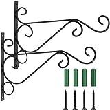 Coolt Y - Juego de 2 ganchos para colgar en la pared de 30,48 cm, soportes para colgar de hierro forjado de metal para comederos de pájaros, plantas, faroles, campanillas de viento, color negro
