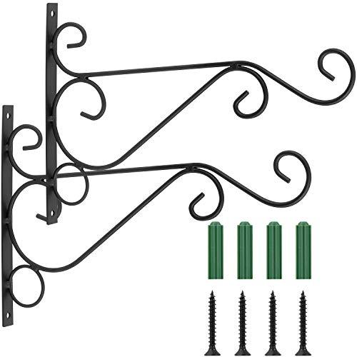 Coolty 2pcs ganchos para colgar en la pared, soporte para colgar en la pared, hierro forjado, soporte de metal para comederos de pájaros, plantas, linternas, carillones de viento, color negro