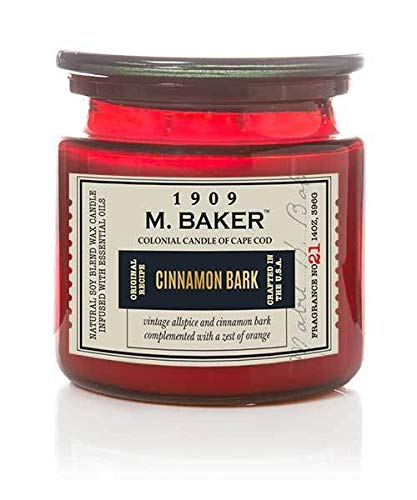 M. Baker by Colonial Candle Scented Apothecary Glass Jar Candle, Cinnamon Bark, Natural Soy Wax Blend, 14 Oz, Two Premium Cotton Wicks, Single (Orange Rind, Lemon Leaf, Cardamom Seed)