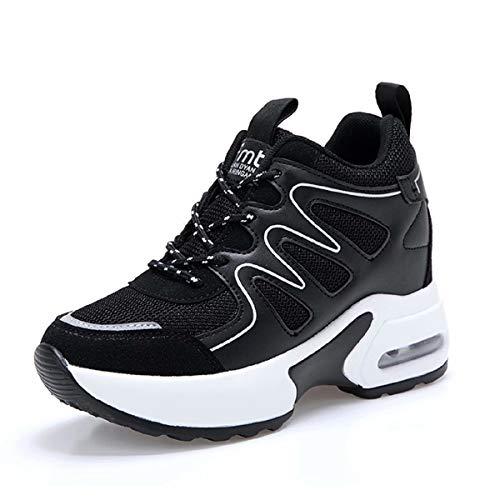 tqgold® Wedges Sneaker Damen mit Keilabsatz 8cm Sportschuhe Turnschuhe Plateau Schuhe Schwarz Größe 39
