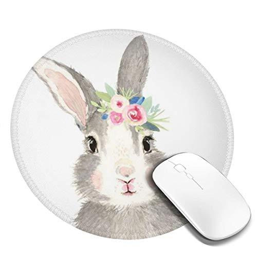 Rotondo Tappetino Mouse Gaming Coniglio Coniglio Rosa Fiore Rosa Lilla, Gomma Antiscivolo per Computer, PC e Laptop Mouse Pad