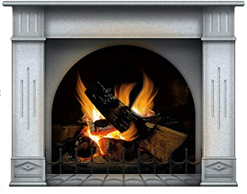 lepni.me Wandaufkleber Kamin mit brennendem Feuer Wandtattoo Dekoration Brennholz Flammen fotorealistische Kunst Poster (Groß Ivory)