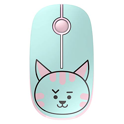 Jelly Comb 2.4G Slim Wireless Mouse with Nano Receiver, Less Noise, Portable Mobile Optical Mice for Notebook, PC, Laptop, Computer, MS001 (Cat)
