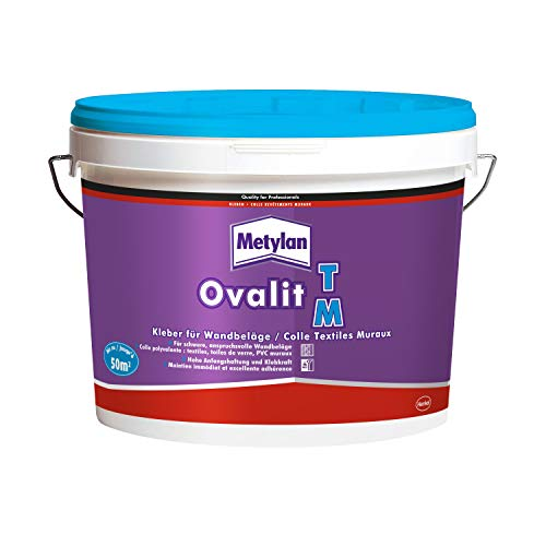 Metylan Ovalit TM, Tapetenkleber pur oder als Zusatz für Tapetenkleister, sehr starker Kleber für schwere Wandbeläge, feuchtigkeits- & nässeunempfindlicher Klebstoff, 1x10kg Eimer (bis zu 50m²)