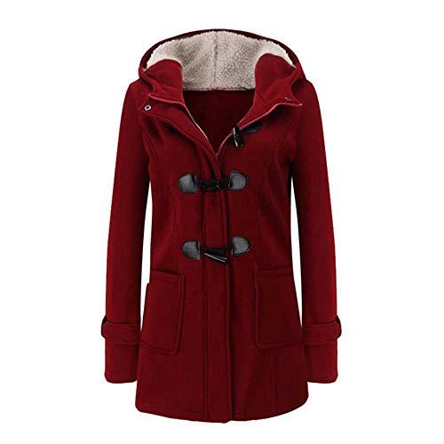 NOBRAND - Abrigo Largo de algodón con Capucha para Mujer Rojo Rosso El Talla asiático XL