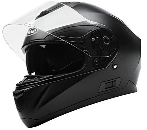 Casco Moto Integral ECE Homologado - YEMA YM-831 Casco de Moto Scooter para Mujer Hombre Adultos con Doble Visera -Negro Mate-M
