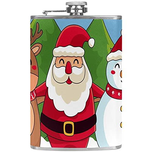 Petaca pequea para licor para mujer a prueba de fugas frasco de cuero con embudo Discreto Shot Beber de alcohol Regalo para hombres Feliz Navidad Santa Claus Reno mueco de nieve