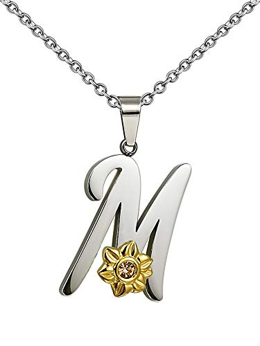 Shining Charm Initial Necklace for Women Birthday Gifts for Mum,Flower M Necklace Pendant 18' Letter Necklace for Mum