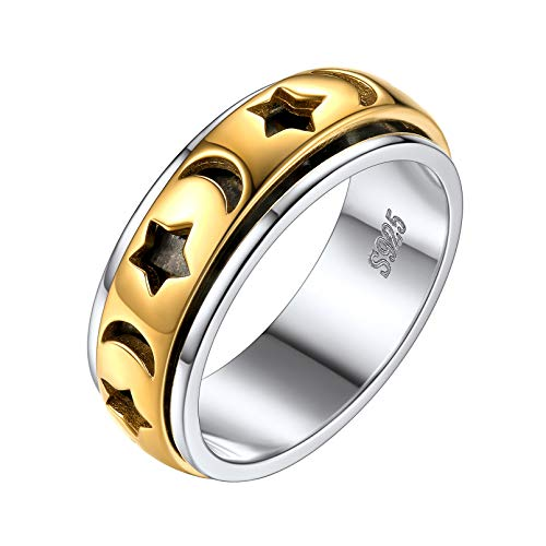 Mens Womens Moon Star Spinner Band Ring for Anxiety 925 Sterling Silver and Brass Worry Rings Fashion Jewelry