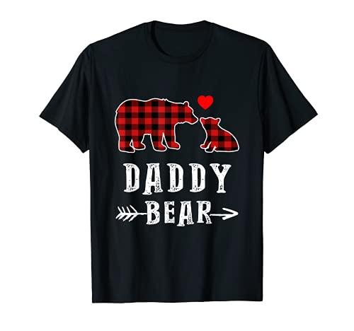 Roter karierter Schlafanzug mit Papa-Bär und passendem Buffalo-Schlafanzug T-Shirt