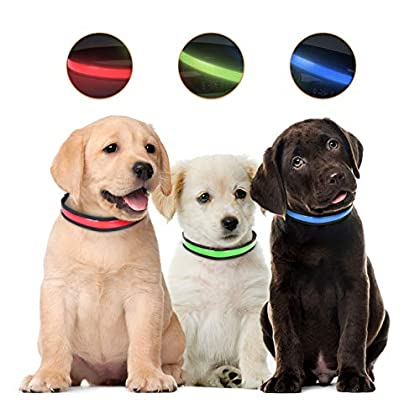 Material: Das blinkende Hundehalsband besteht aus robustem Nylon mit höherer Festigkeit und Haltbarkeit. Sicherheitsschnalle - Die seitliche Entriegelungsschnalle besteht aus hochwertigem, umweltfreundlichem Kunststoff mit Sicherheitsverschluss, um e...