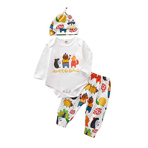 Fenverk3St Baby Kleidung Set Body Strampelhose MüTze TeddybäR Harry Potter Unisex Babykleidung - Hosen Snuggle MäDchen Jungle Kurzarm T-Shirt + Long Pants + Hut (A Weiß,70)