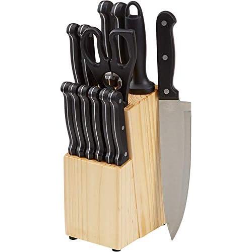 Amazon Basics - Set di 14 coltelli con ceppo