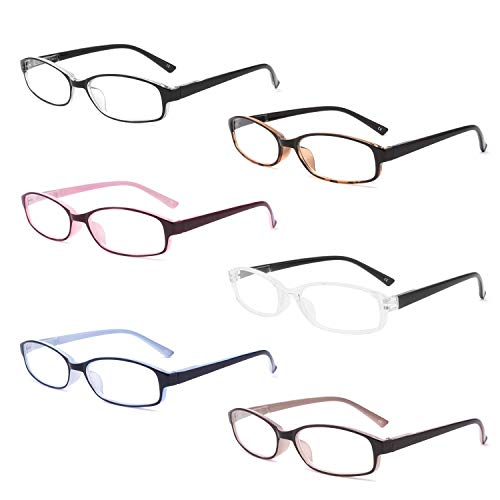 IVNUOYI 6 Pack Reading Glasses Blue Light Blocking with Spring Hinges,Colors Lightweight Readers for Women,Anti Glare UV Computer Eyeglasses 2.25