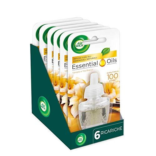 Airwick Ricariche per Diffusore di Oli Essenziali Elettrico, Confezione da 6 Ricariche, fragranza Vaniglia e Thè Bianco