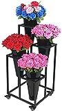 WYJW Garden Grow Plant Pot Stand Pack de 4 macetas Soporte para jardín Patio Balcón Plant Pot Holder Estante de Flores de Hierro con Rueda Incluyendo macetas de arado