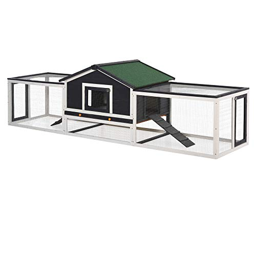 PawHut 2-Story Large Wooden Rabbit Hutch Pet House with Ramps, Lockable Doors, Run Area and Asphalt Roof for Outdoor Use