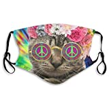 Doomfist Cool Cat Hippie Cat Kitty Reusable Dust Washable Filter and Reusable Mouth Windproof Warm Cotton Face