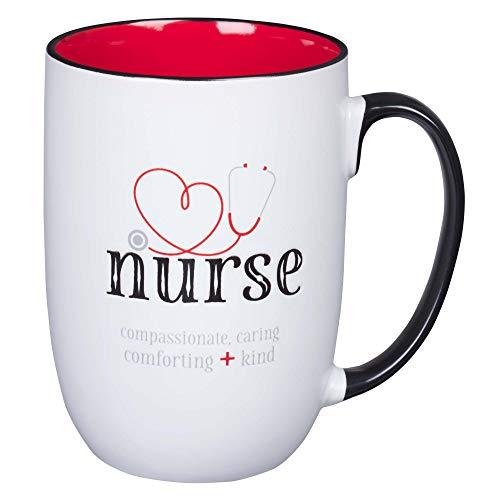 Christian Art Gifts White Ceramic Coffee Mug for Nurses   God Found the Strongest People & Made Them Nurses   Inspirational Coffee/Tea Cup, 15 oz