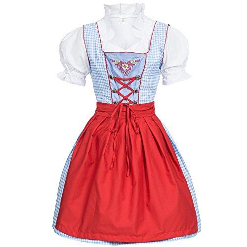 Bongossi-Trade Dirndl 3 TLG.Trachtenkleid Kleid, Bluse, Schürze, Gr. 40 hellblau/Weiss kariert
