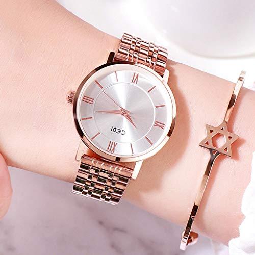 Hasayo Dial Relojes de señora Reloj de Moda Reloj de Pulsera de Reloj Femenino niñas Vestido de Movimiento de Cuarzo de Oro Rosa número Romano de Las Mujeres (Color : F)