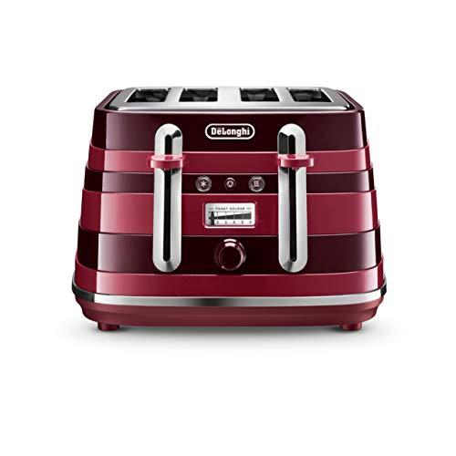 De'Longhi Avvolta 4-fach Toaster, Aufwärmen, Auftauen & 6 Bräunungseinstellungen, abnehmbare Krümelschale, CTA4003R, rot