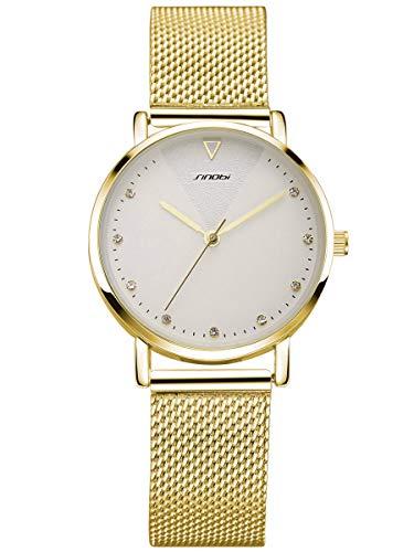 Alienwork Armbanduhr Damen Gold Metall Mesh Armband Edelstahl Weiss Strass-Steinen Glitzer Elegant