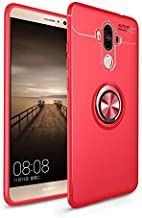 iCoverCase Compatible with Huawei Mate 9 Case,[Invisible Matal Ring Bracket][Magnetic Support] Shockproof Anti-Scratch Ultra-Slim Protective Cover Case Kickstand (Red+Red)