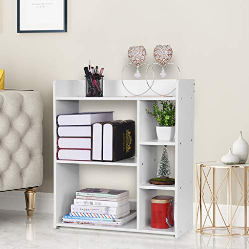 23.6×9.5×26.8in Simple Combination Bookcase Bookshelf Home Multi-Layer Floor Rack, Floor Storage Cabinet, Side Cabinet Decor Furniture for Home Office, White