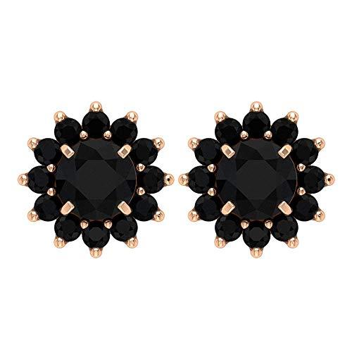1.08 CT Creado en laboratorio pendientes de diamante negro, pendientes de racimo, pendientes de flor vintage, pendientes de solitario negro, 10K Oro rosa, Par