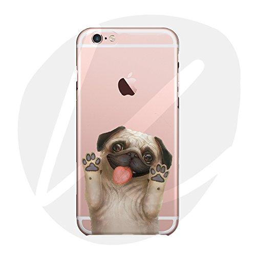 (Sleeping bear) iPhone 5/S/SE Funda Carcasa,Pequeño Animal Perro Lindo De La Historieta(Pug) Patrón TPU Caso Funda Cover Carcasa+Correa del Teléfono--Barros amasados