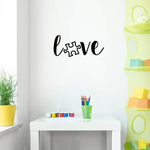 """Vinyl Wall Art Decal - Love Puzzle Piece - 9.5"""" x 22"""" - Trendy Motivational Good Vibes Cute Quote Sticker for Home Bedroom Kids Room Playroom Nursery Daycare School Classroom Decor"""