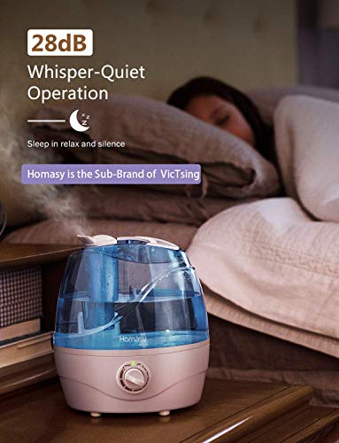Homasy VicTsing 2.2L Cool Mist Humidifiers, Quiet Ultrasonic Humidifiers for Bedroom, Easy to Clean Air Humidifier, Last Up to 24 Hours, Auto Shut-Off, Adjustable Mist Output