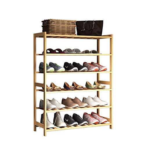 SogesHomeEstante Zapatero,Zapatero de bambú de 6 Niveles,Almacenaje Zapato,Almacenamiento de Calzado,Zapatero Apilables para Sala De Estar, Entrada,67 x 24 x 90 cm, SH-XJ-6-D