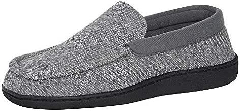 Hanes Men's Moccasin Slipper, Grey, Large