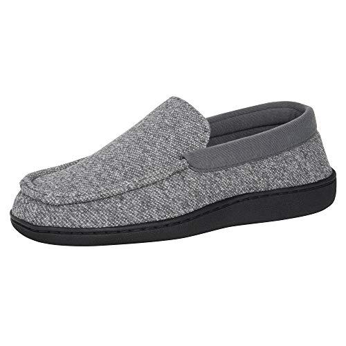 Hanes Men's ComfortSoft Memory Foam Indoor Outdoor Moccasin Slipper Shoe, Grey, Large