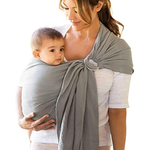 Moby Ring Sling | Versatile Support Wrap for Mothers, Fathers, and Caregivers | Baby Wrap and Carrier for Newborns, Infants, and Toddlers | Holder Can Carry Babies up to 33 lbs | Pewter
