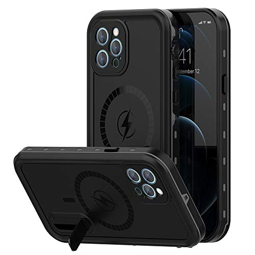 Magnetic Case for iPhone 12 Pro Max with Mag-Safe Charging,Waterproof with Built-in Screen Protector Military Grade Drop Tested Rugged Shockproof Kickstand for Apple iPhone 12 Pro Max (Black)
