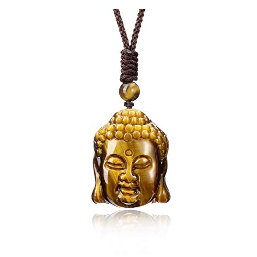 Top Plaza Men Tiger Eye Stone Laughing Maitreya Buddha Talisman Amulet Protection Pendant Necklace Natural Healing Crystal Carved Gemstone Necklace for Lucky